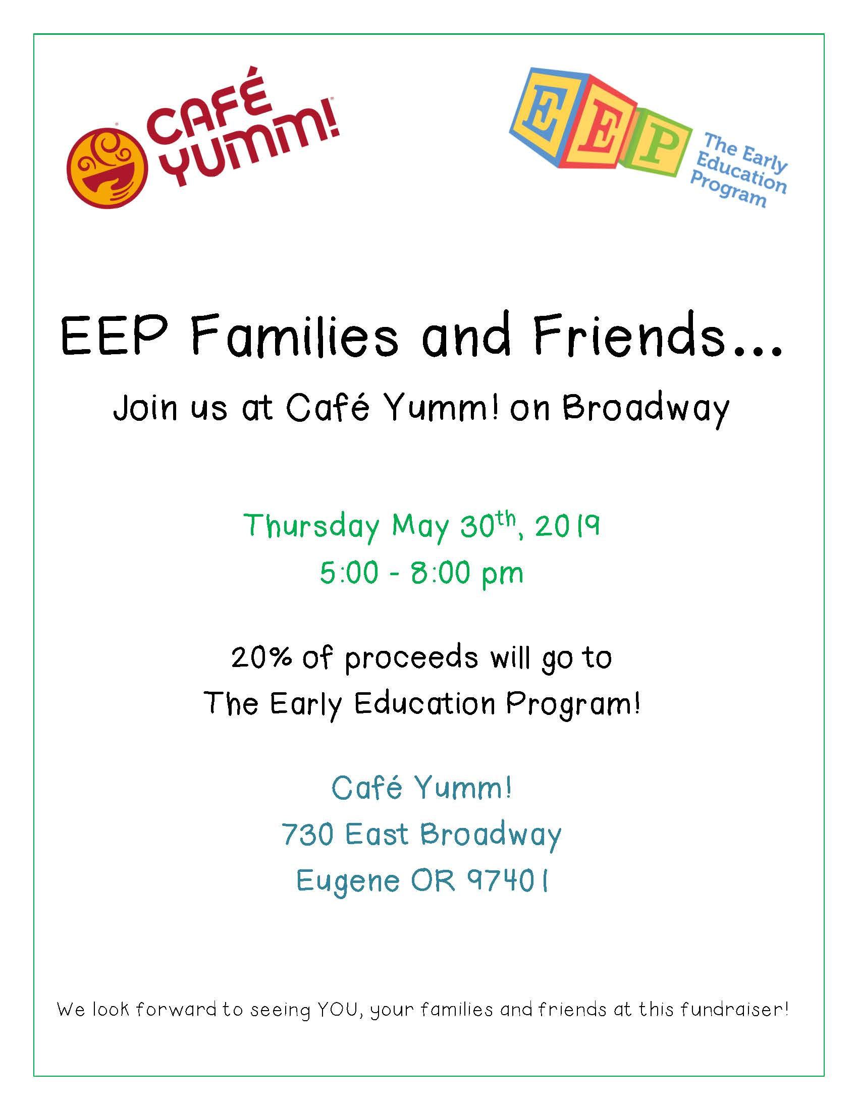 Cafe Yumm Fundraising Flyer May 30th For FB